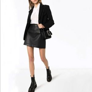 HELMUT LANG asymmetrical leather mini skirt
